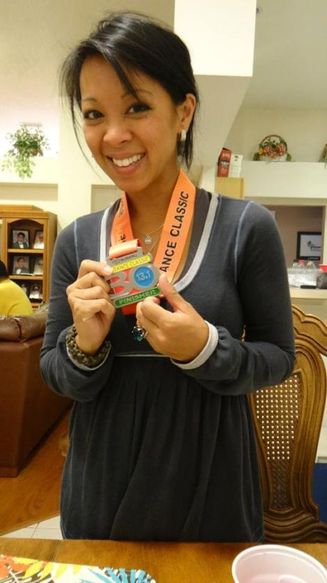 Showing off my medal and puffy eyes.  Thanksgiving this year was very emotional!