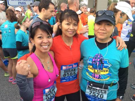Me, my Aunt Sue, and her friend Becky in our corral before the race.