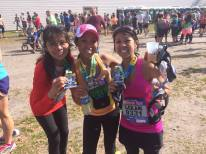 My aunt Susan, my sister Charry, and me at the 2014 Gate River Run