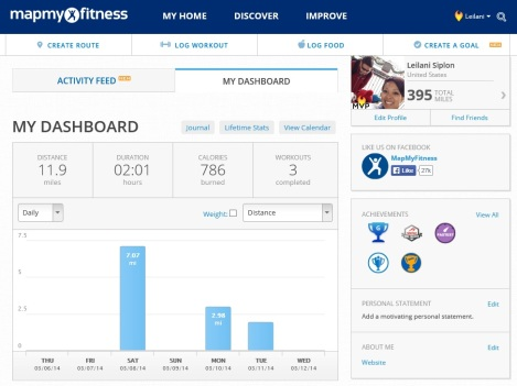 My MapMyRun.com dashboard.  You can also view your friends' activities through the Activity Feed.