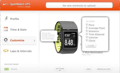The interface for the Nike+ SportWatch