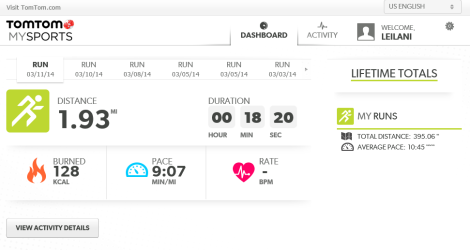 My TomTom MySports dashboard.  Not much to see here.