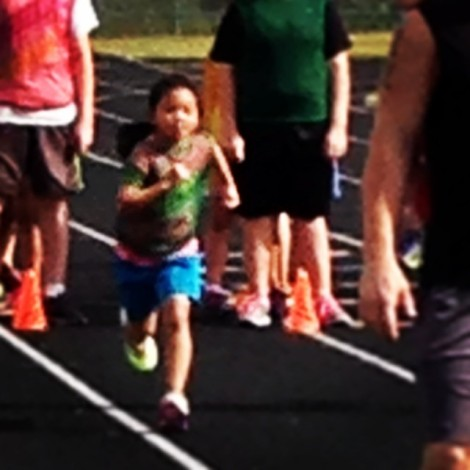 Lana running at her first track practice!