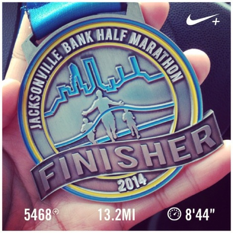 My fourth half-marathon medal, 2014 Jacksonville Bank!