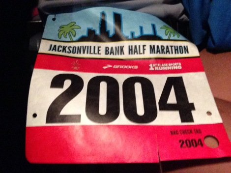 My Jax Bank Half bib.