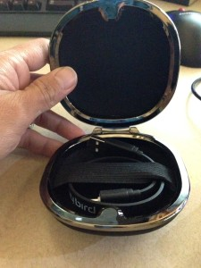 The charger cable in the carrying case.  It's a clam shell with a magnetic close.